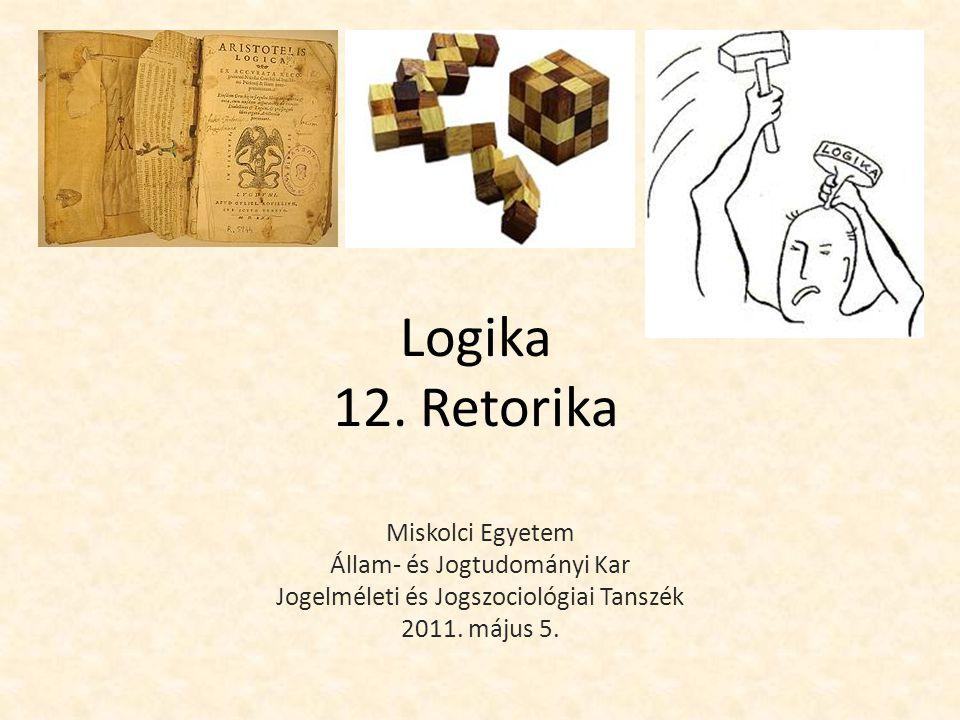 Logika 12. Retorika Miskolci Egyetem Állam- és Jogtudományi Kar