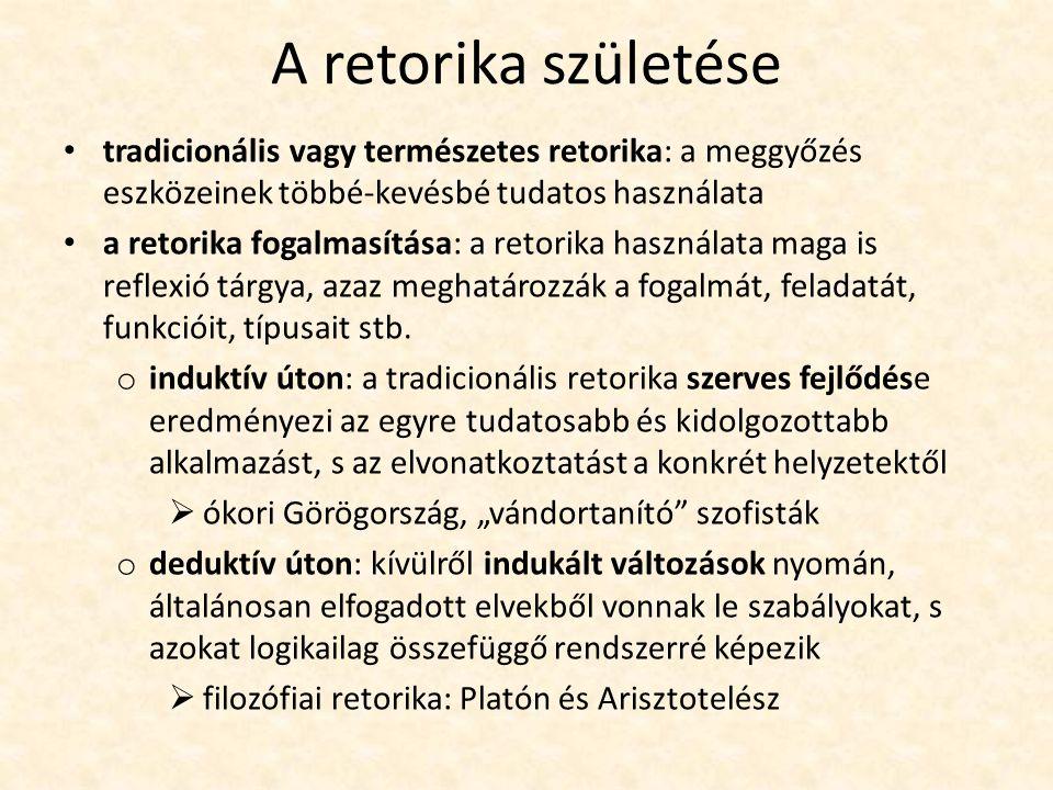 A retorika születése tradicionális vagy természetes retorika: a meggyőzés eszközeinek többé-kevésbé tudatos használata.