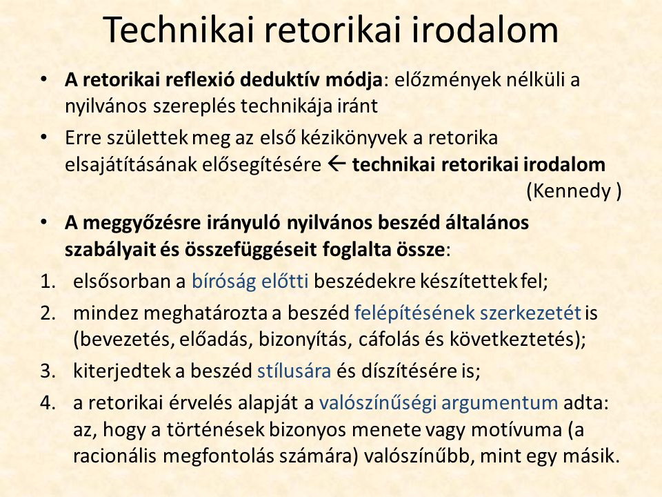 Technikai retorikai irodalom