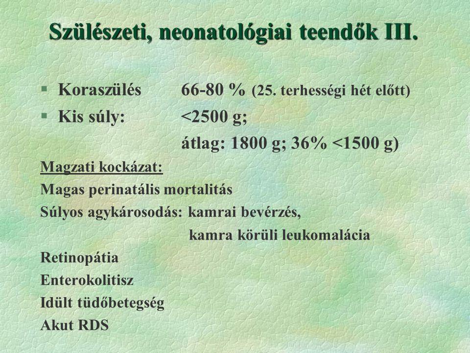 Szülészeti, neonatológiai teendők III.