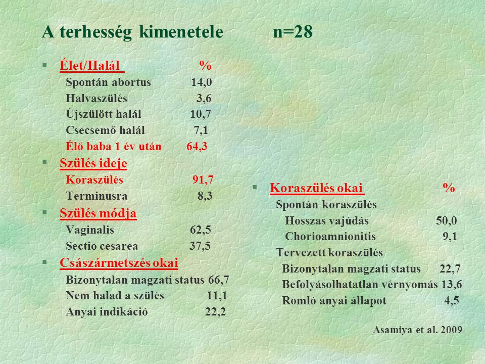 A terhesség kimenetele n=28