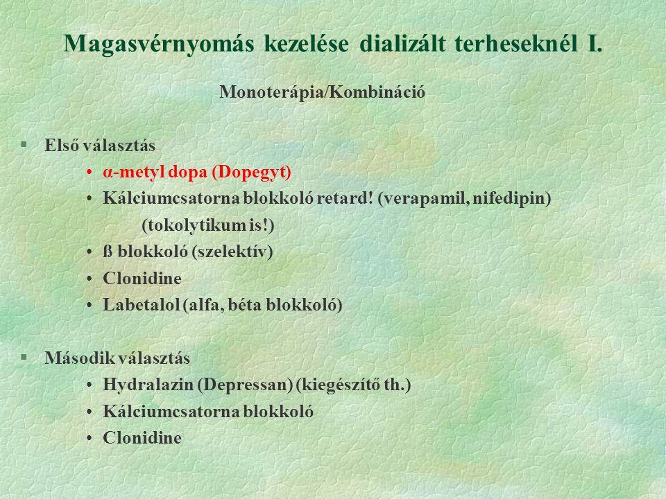 Magasvérnyomás kezelése dializált terheseknél I.