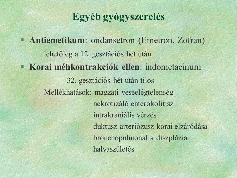 Egyéb gyógyszerelés Antiemetikum: ondansetron (Emetron, Zofran)