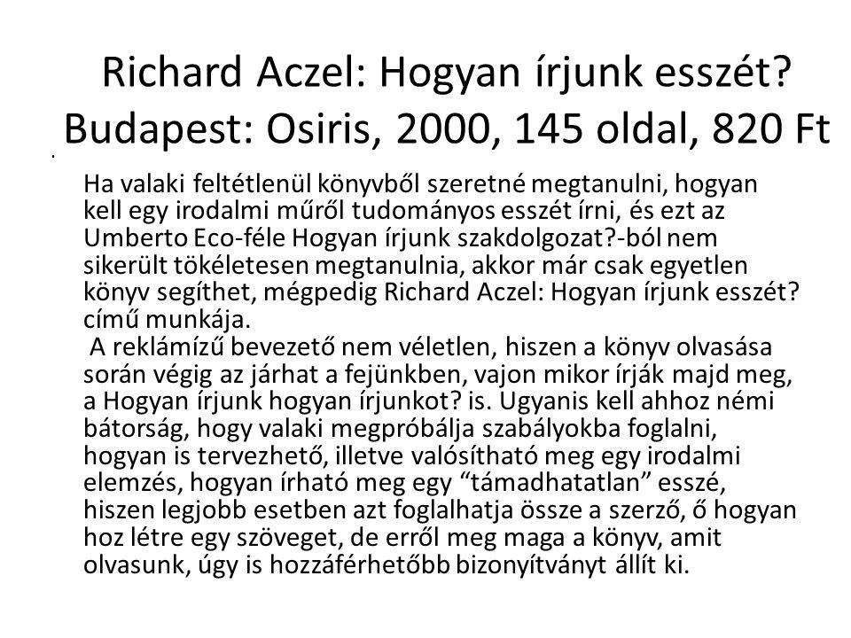 Richard Aczel: Hogyan írjunk esszét