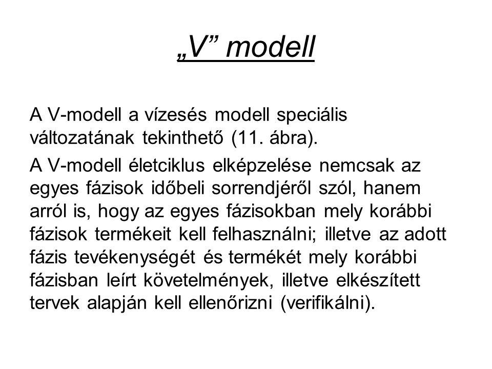 """""""V modell A V-modell a vízesés modell speciális változatának tekinthető (11. ábra)."""