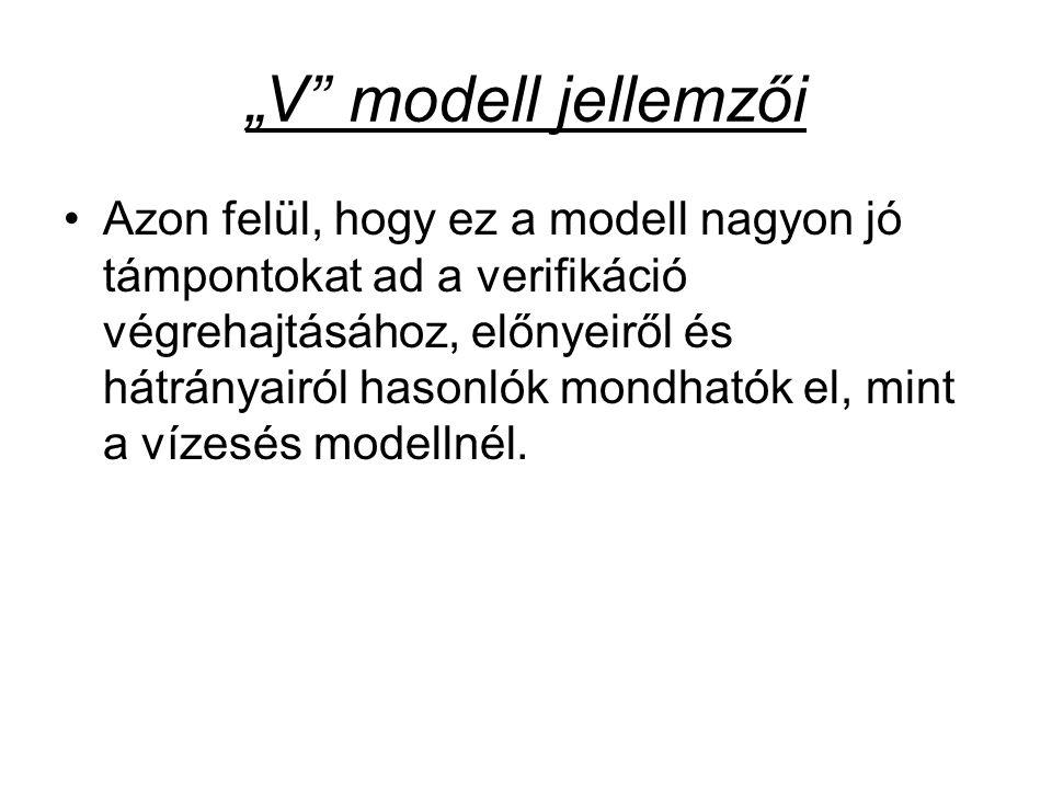 """""""V modell jellemzői"""