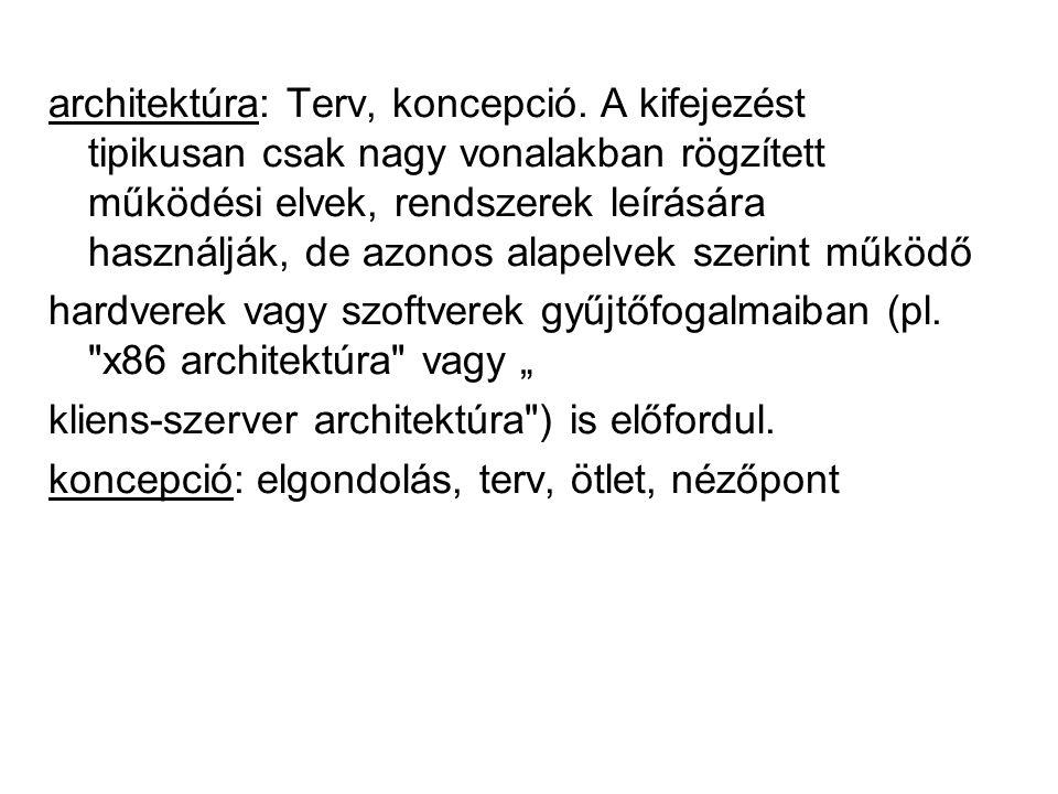architektúra: Terv, koncepció