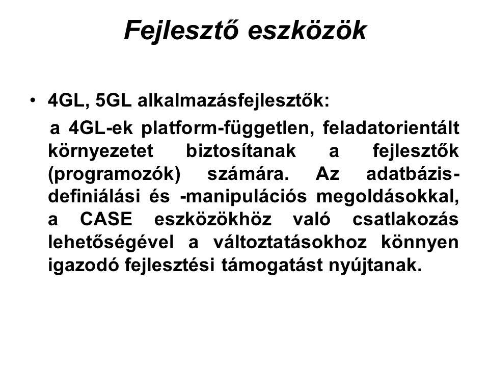 Fejlesztő eszközök 4GL, 5GL alkalmazásfejlesztők: