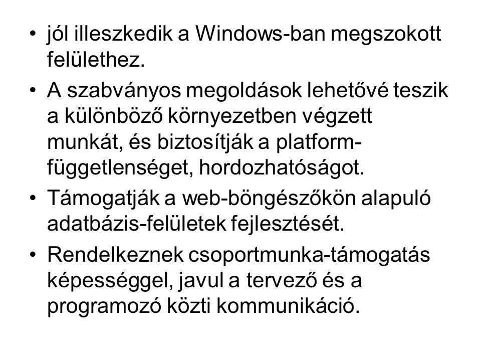 jól illeszkedik a Windows-ban megszokott felülethez.