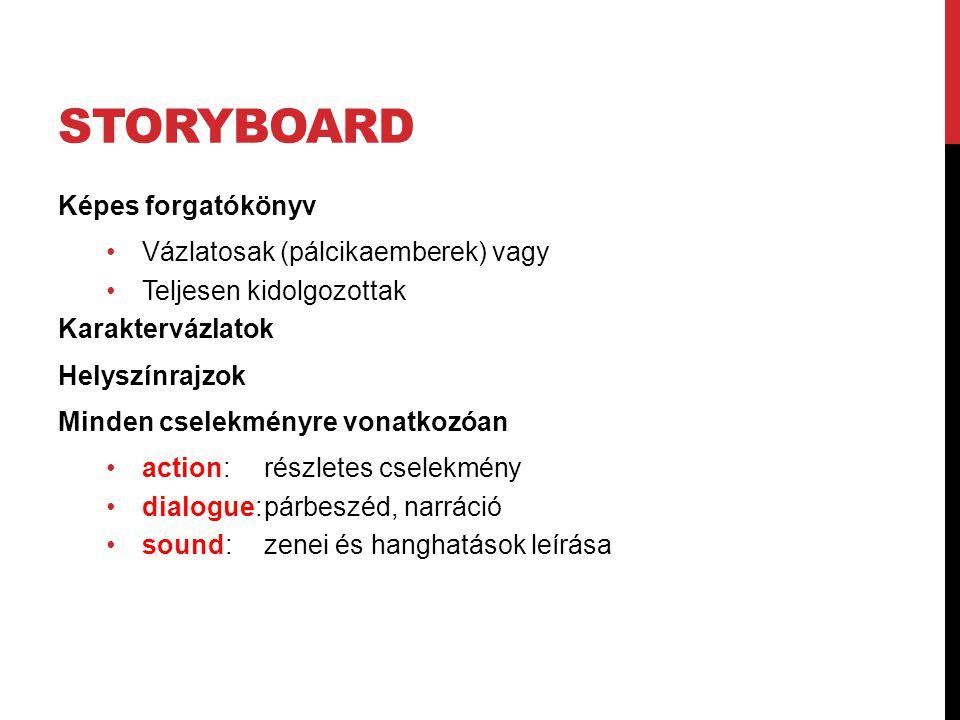 Storyboard Képes forgatókönyv Vázlatosak (pálcikaemberek) vagy