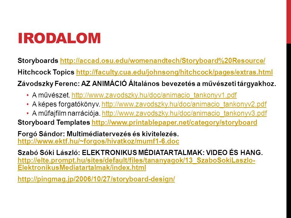 Irodalom Storyboards http://accad.osu.edu/womenandtech/Storyboard%20Resource/