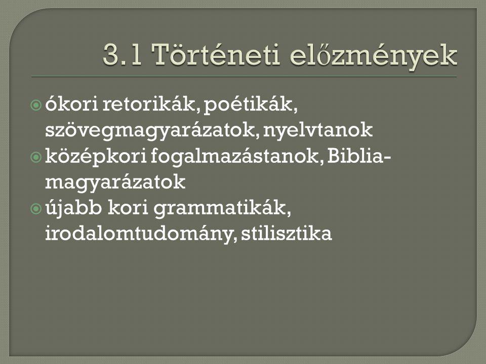 3.1 Történeti előzmények ókori retorikák, poétikák, szövegmagyarázatok, nyelvtanok. középkori fogalmazástanok, Biblia-magyarázatok.