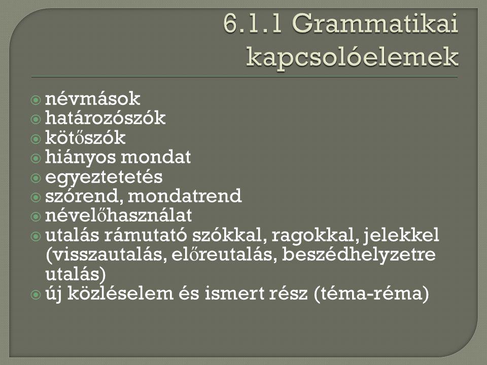 6.1.1 Grammatikai kapcsolóelemek