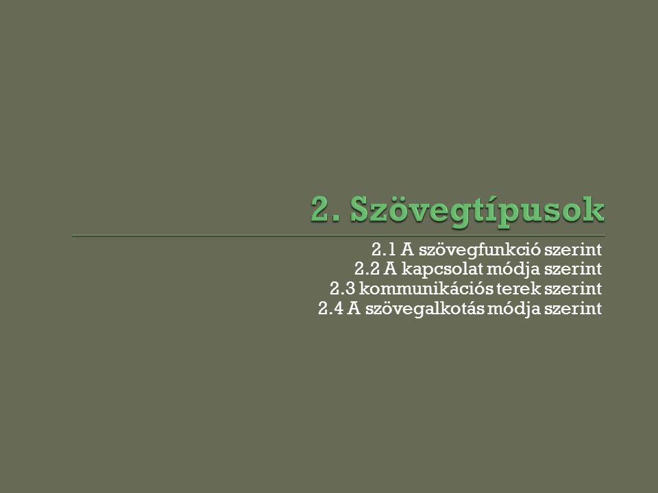 2. Szövegtípusok 2.1 A szövegfunkció szerint