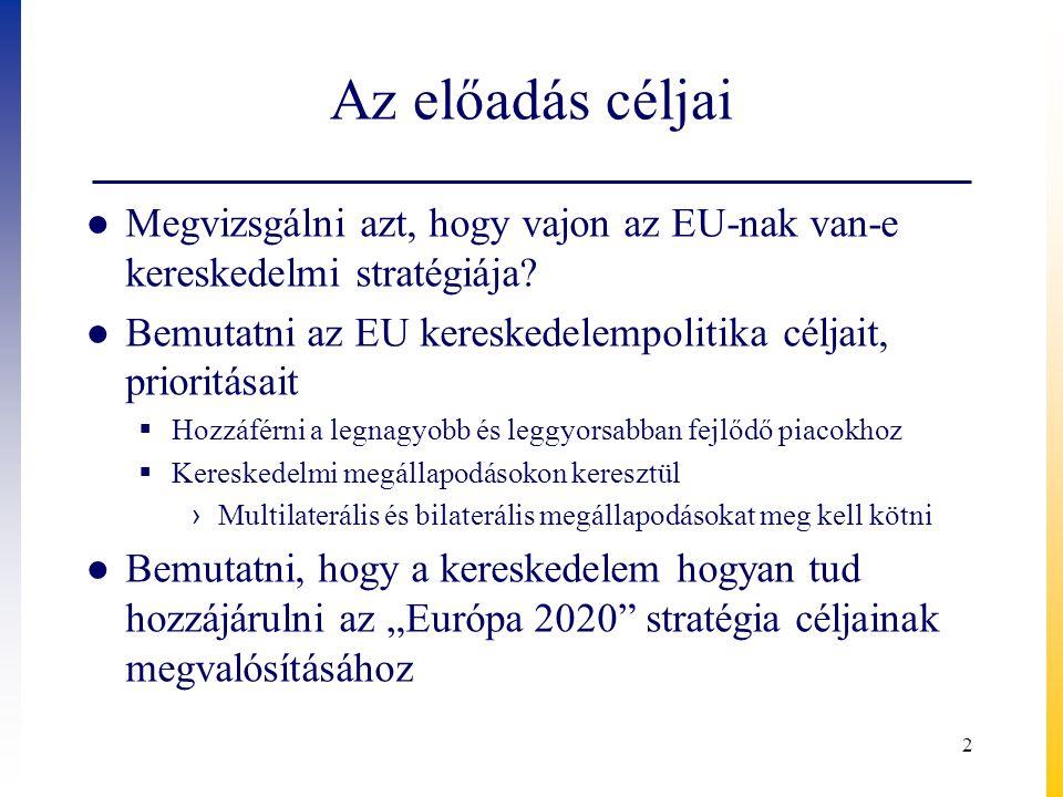 Az előadás céljai Megvizsgálni azt, hogy vajon az EU-nak van-e kereskedelmi stratégiája Bemutatni az EU kereskedelempolitika céljait, prioritásait.