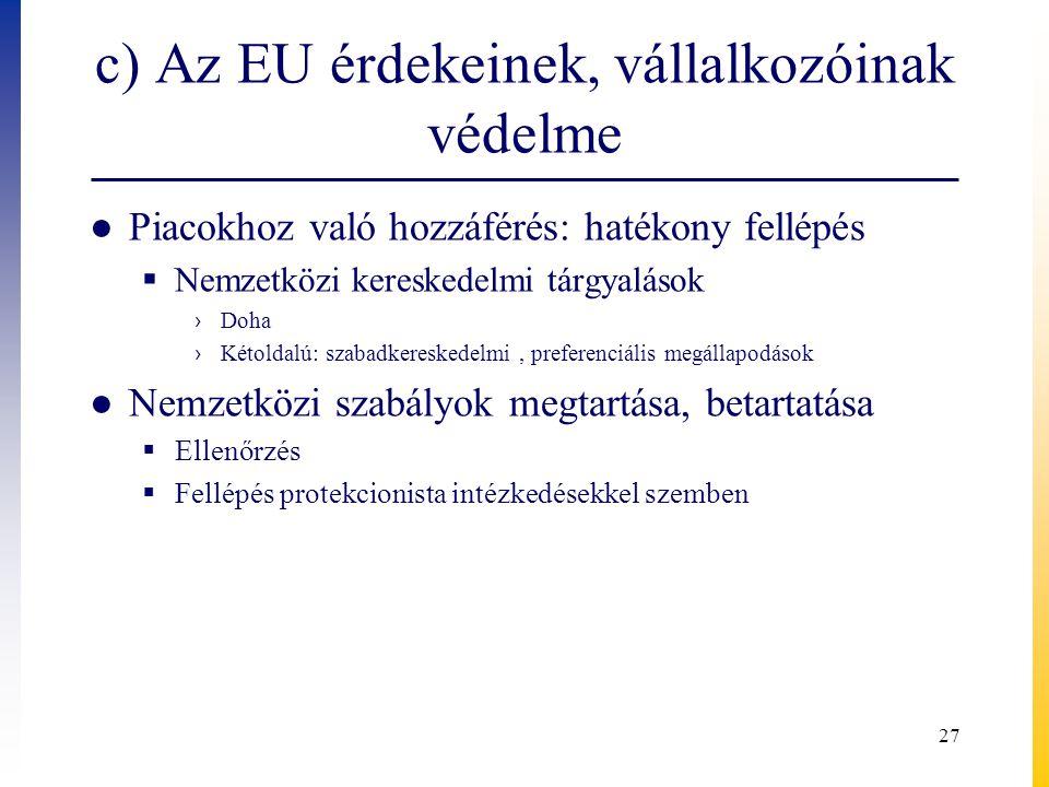 c) Az EU érdekeinek, vállalkozóinak védelme