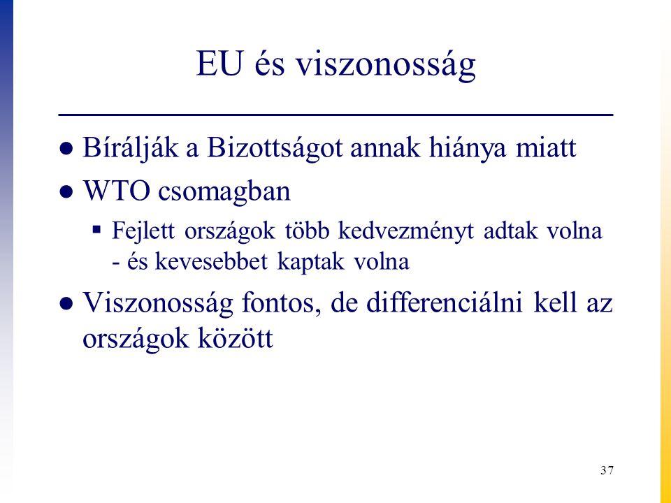 EU és viszonosság Bírálják a Bizottságot annak hiánya miatt