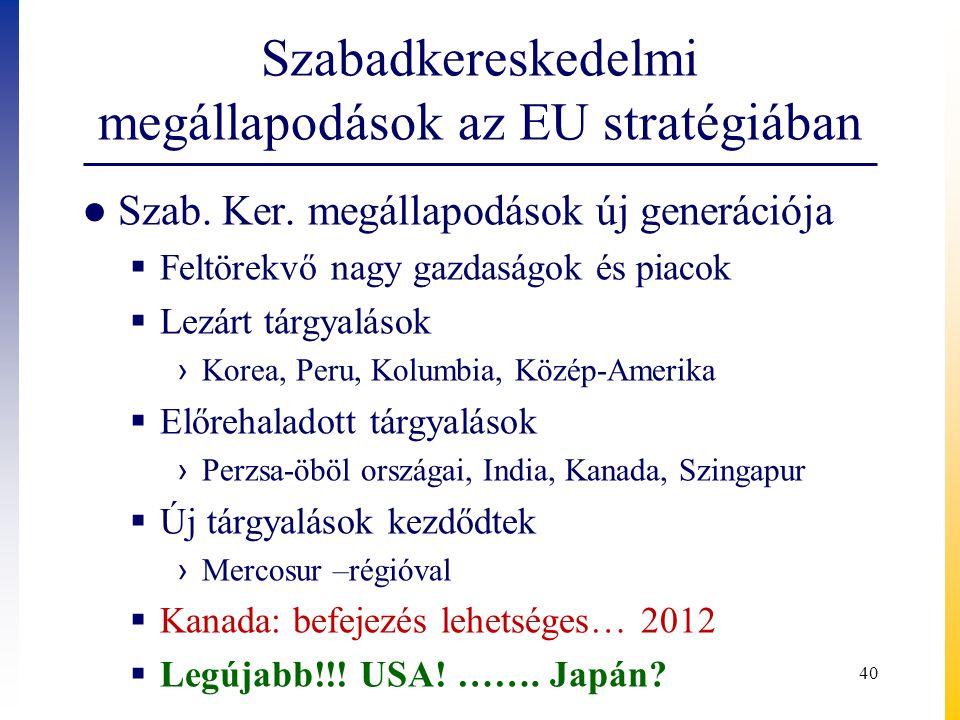 Szabadkereskedelmi megállapodások az EU stratégiában