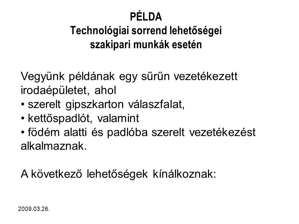 PÉLDA Technológiai sorrend lehetőségei szakipari munkák esetén