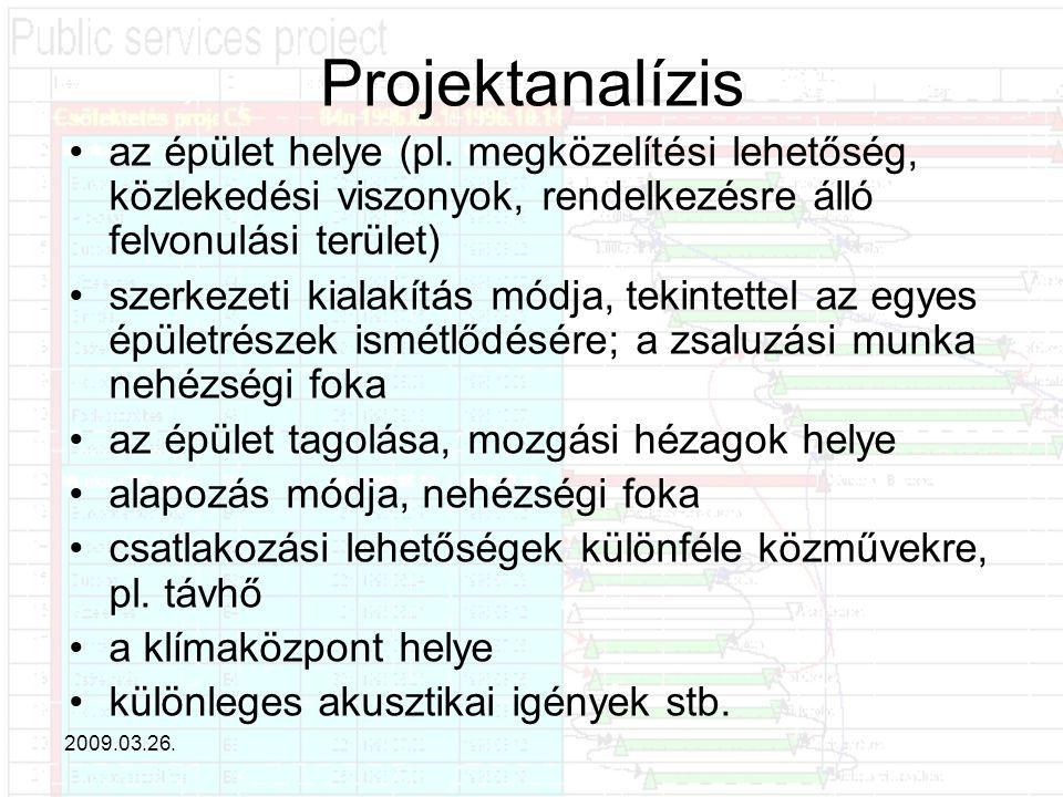 Projektanalízis az épület helye (pl. megközelítési lehetőség, közlekedési viszonyok, rendelkezésre álló felvonulási terület)