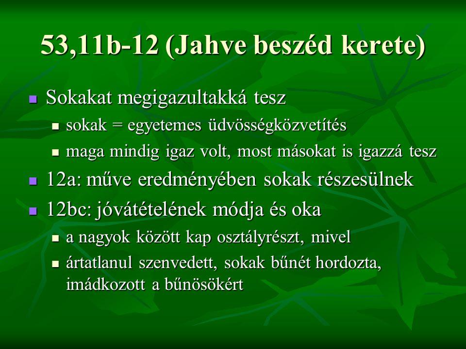 53,11b-12 (Jahve beszéd kerete)