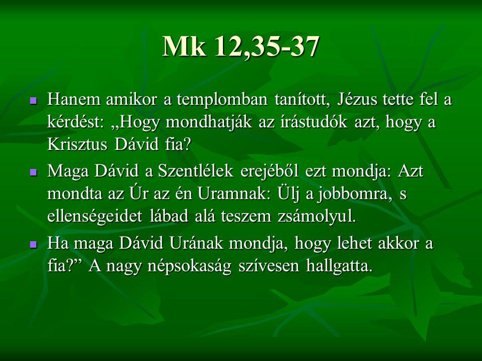 """Mk 12,35-37 Hanem amikor a templomban tanított, Jézus tette fel a kérdést: """"Hogy mondhatják az írástudók azt, hogy a Krisztus Dávid fia"""