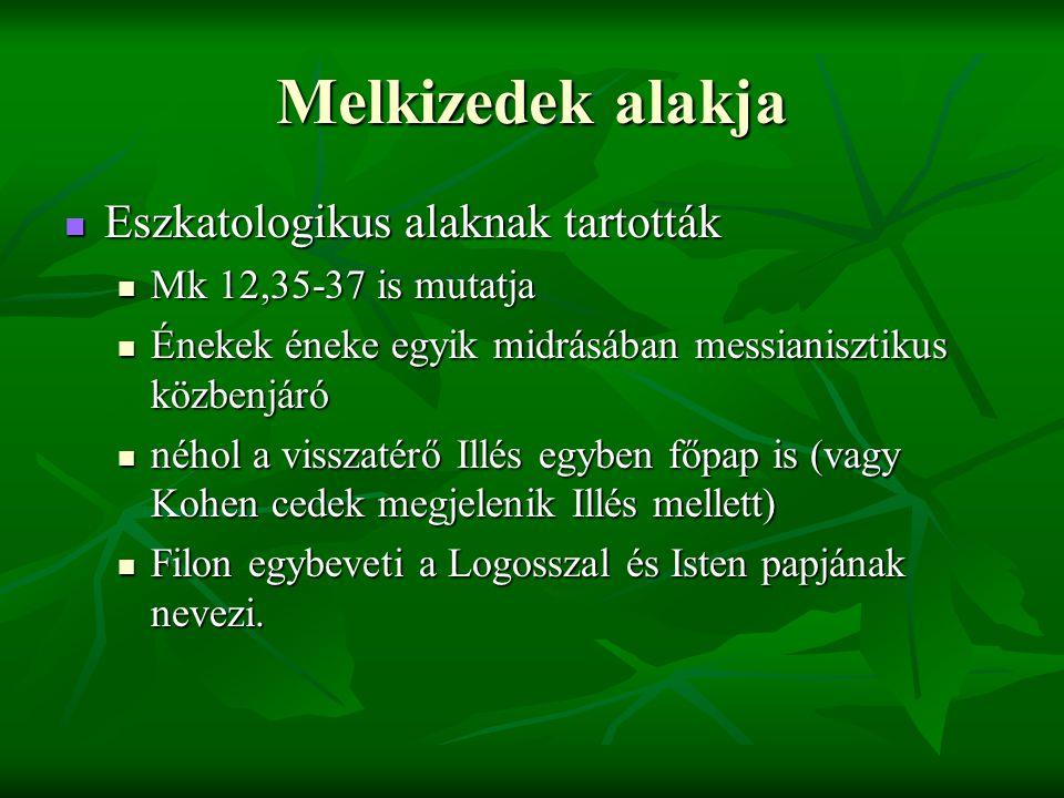 Melkizedek alakja Eszkatologikus alaknak tartották