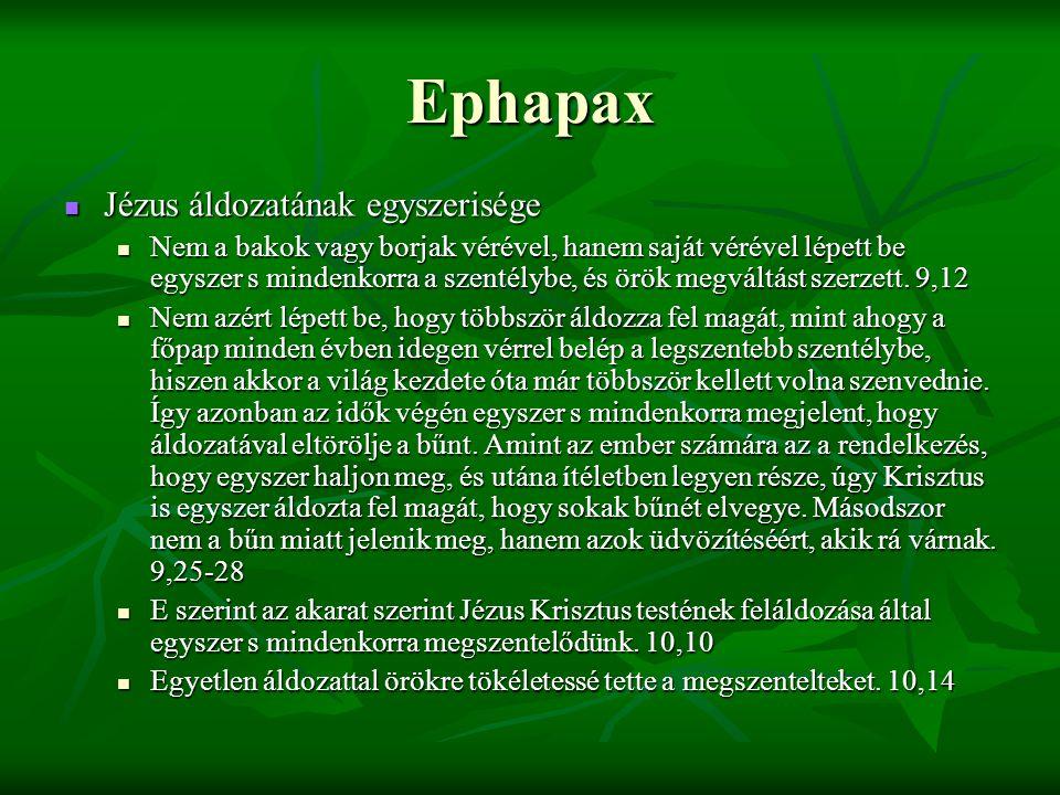 Ephapax Jézus áldozatának egyszerisége
