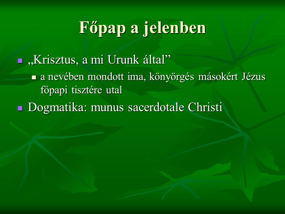 """Főpap a jelenben """"Krisztus, a mi Urunk által"""