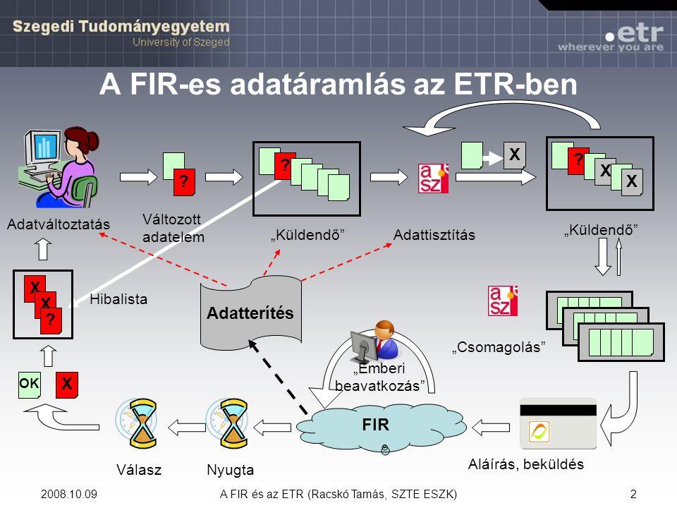 A FIR-es adatáramlás az ETR-ben