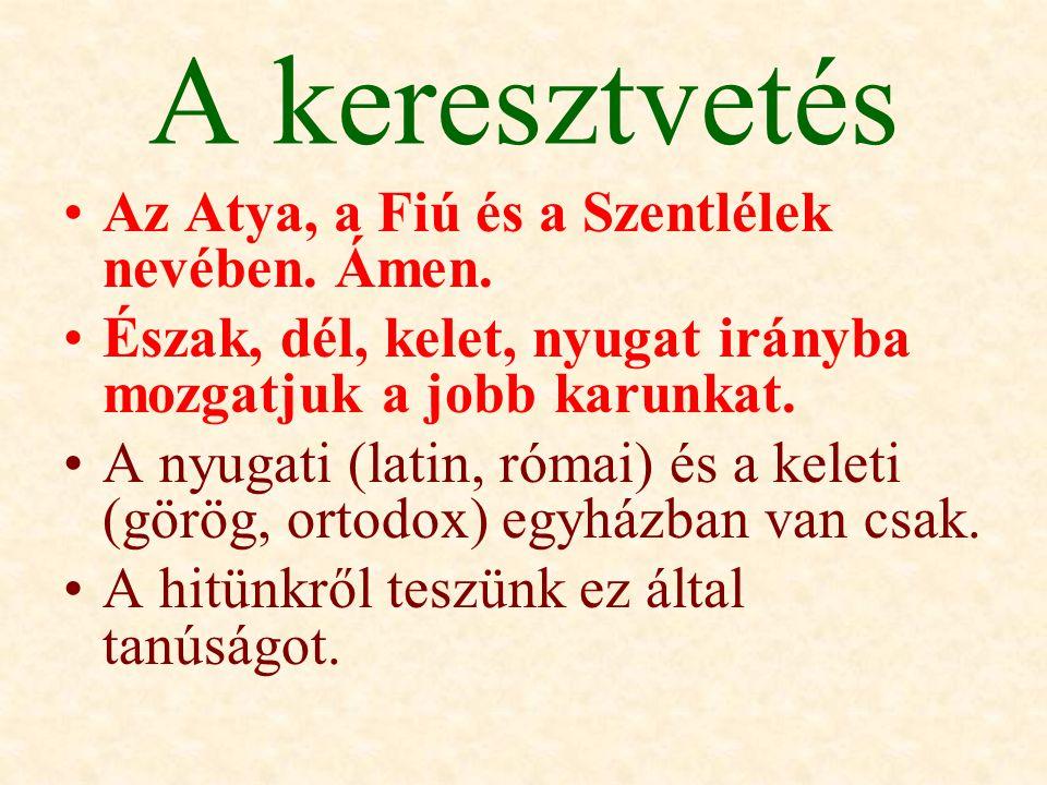 A keresztvetés Az Atya, a Fiú és a Szentlélek nevében. Ámen.