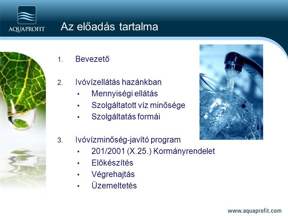 Az előadás tartalma Bevezető Ivóvízellátás hazánkban