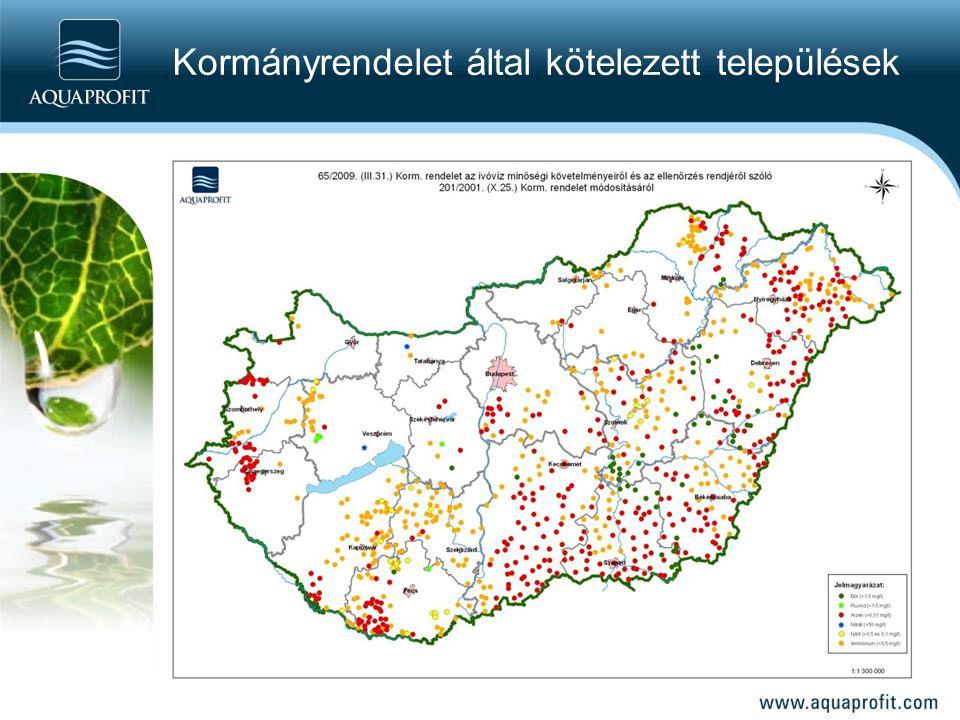 Kormányrendelet által kötelezett települések