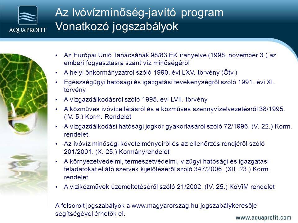 Az Ivóvízminőség-javító program Vonatkozó jogszabályok
