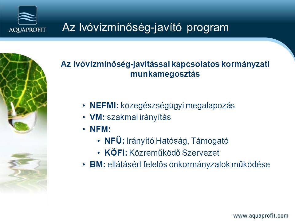 Az ivóvízminőség-javítással kapcsolatos kormányzati munkamegosztás