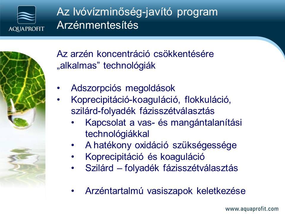 Az Ivóvízminőség-javító program Arzénmentesítés