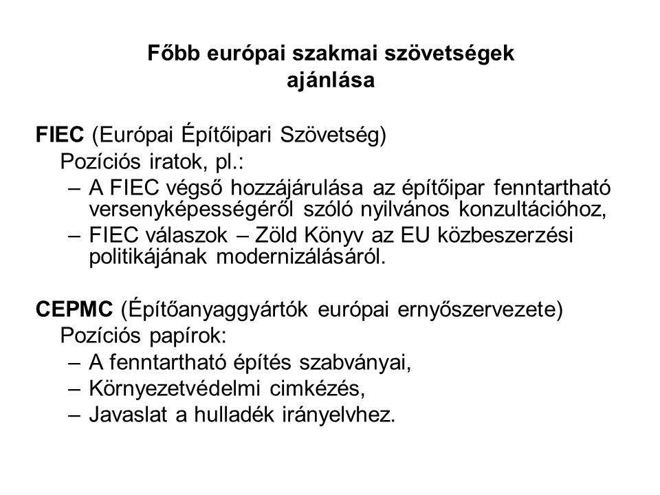 Főbb európai szakmai szövetségek ajánlása