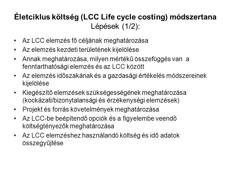 Életciklus költség (LCC Life cycle costing) módszertana Lépések (1/2):