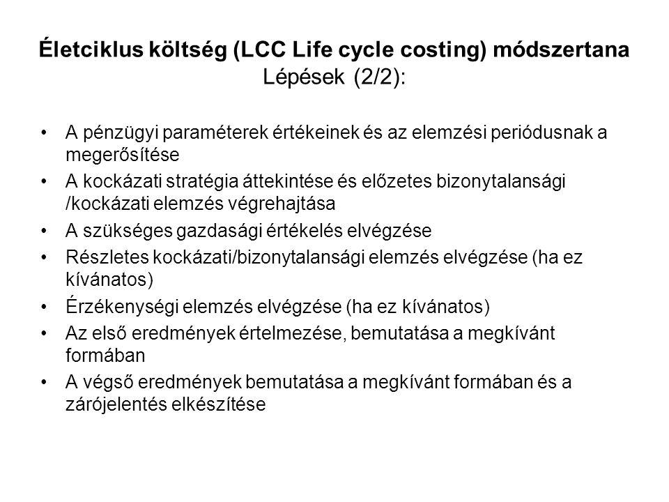 Életciklus költség (LCC Life cycle costing) módszertana Lépések (2/2):
