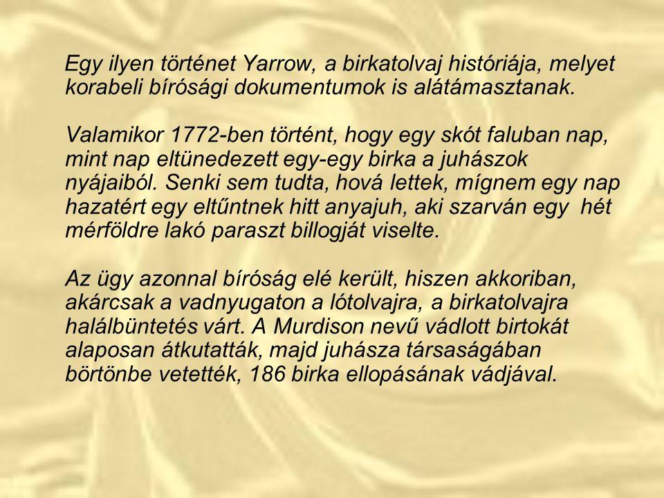 Egy ilyen történet Yarrow, a birkatolvaj históriája, melyet korabeli bírósági dokumentumok is alátámasztanak. Valamikor 1772-ben történt, hogy egy skót faluban nap, mint nap eltünedezett egy-egy birka a juhászok nyájaiból.