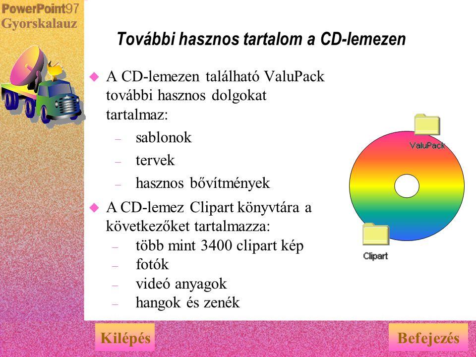 További hasznos tartalom a CD-lemezen