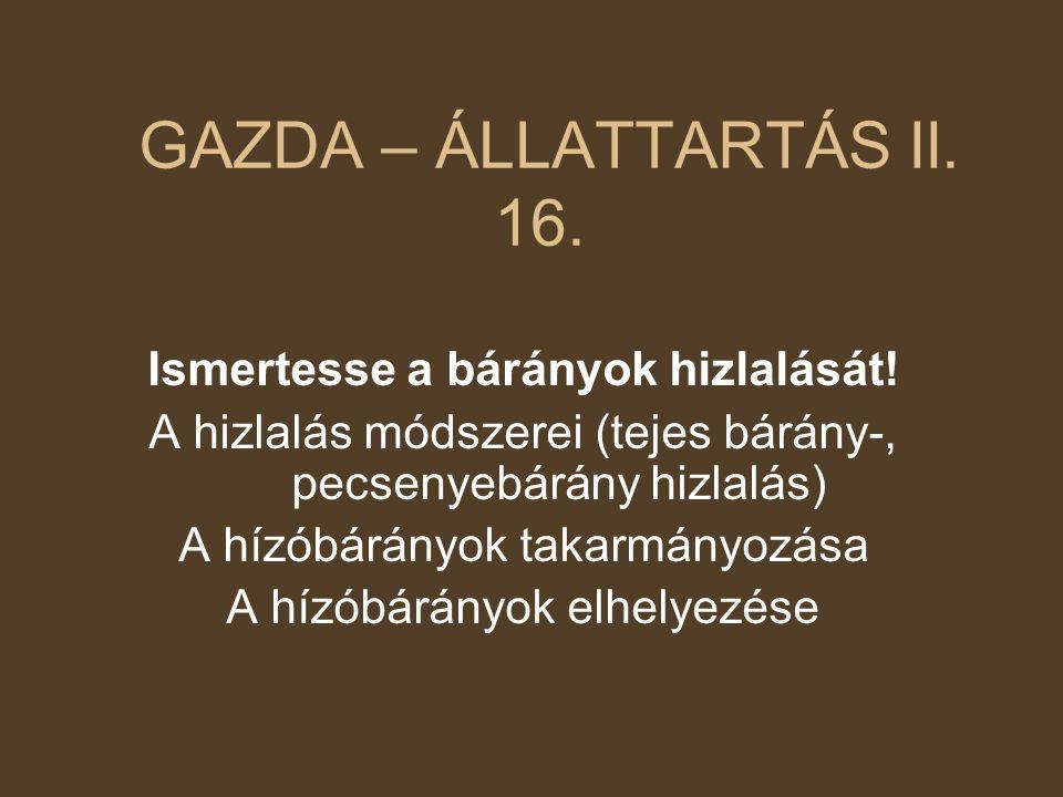 GAZDA – ÁLLATTARTÁS II. 16. Ismertesse a bárányok hizlalását!