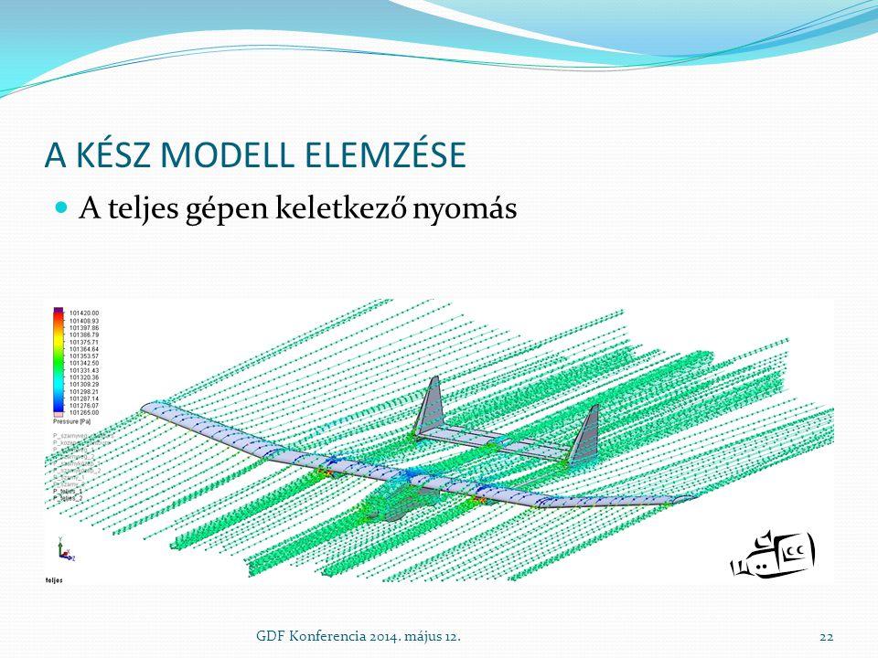A kész modell elemzése A teljes gépen keletkező nyomás