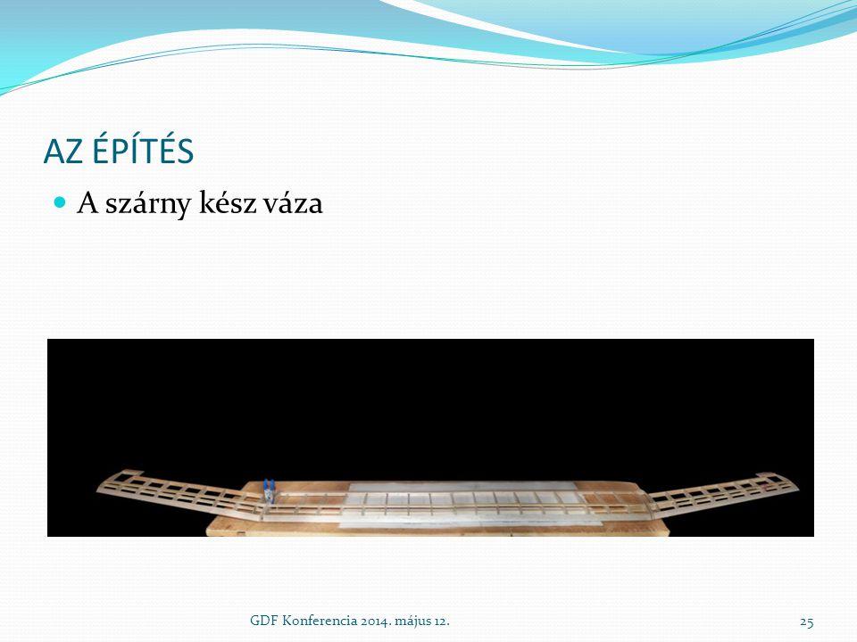 Az építés A szárny kész váza GDF Konferencia 2014. május 12.