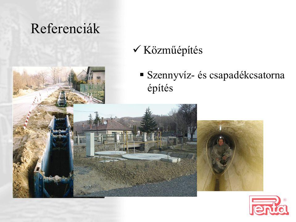 Referenciák Közműépítés Szennyvíz- és csapadékcsatorna építés