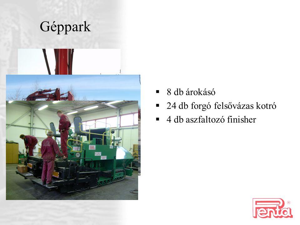 Géppark 8 db árokásó 24 db forgó felsővázas kotró