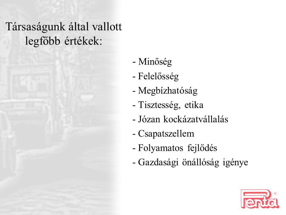 Társaságunk által vallott legfőbb értékek:
