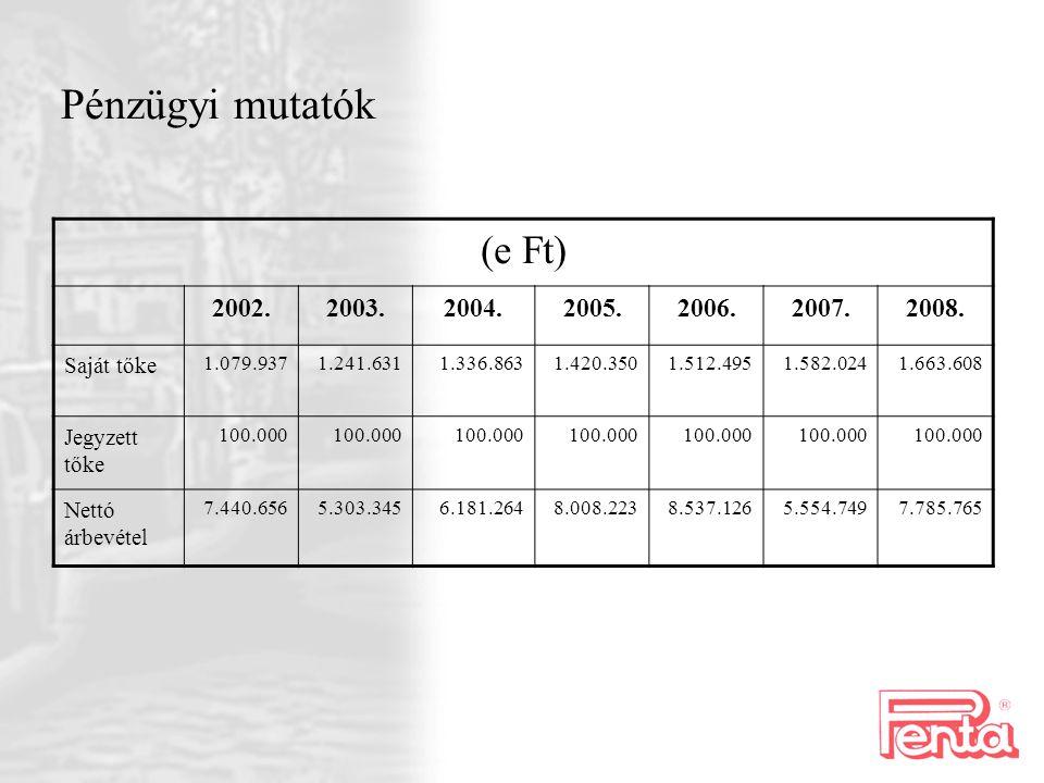 Pénzügyi mutatók (e Ft) 2002. 2003. 2004. 2005. 2006. 2007. 2008.