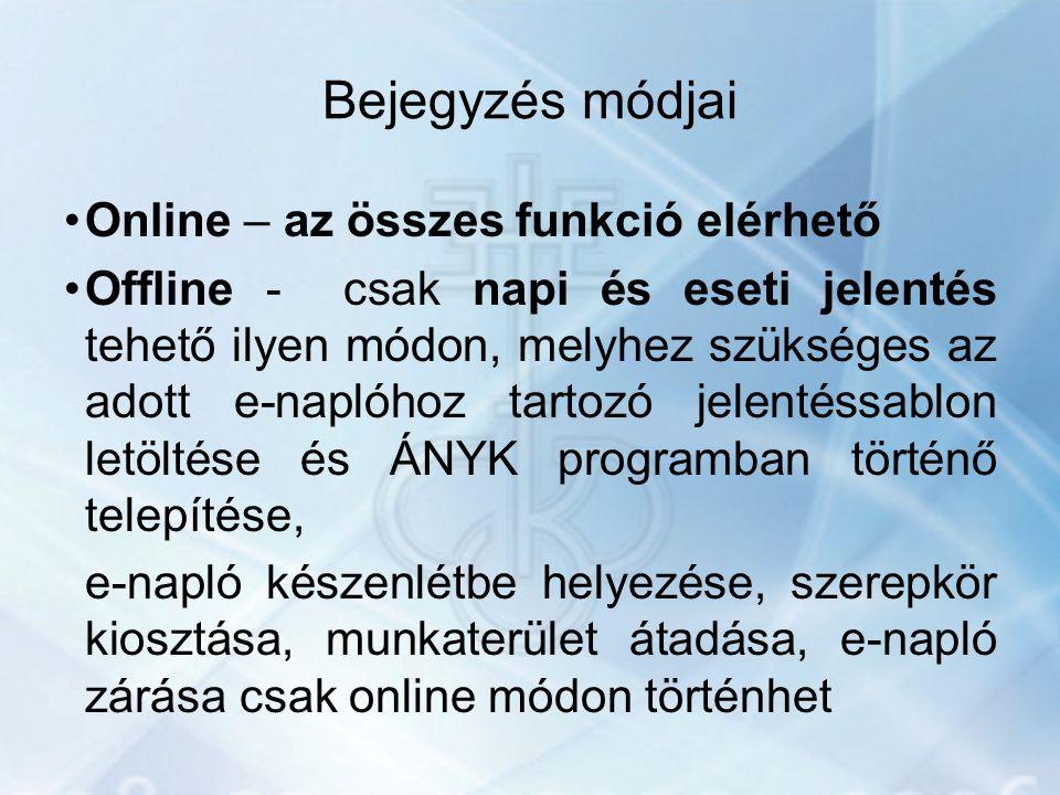 Bejegyzés módjai Online – az összes funkció elérhető