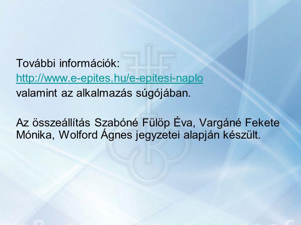További információk: http://www. e-epites